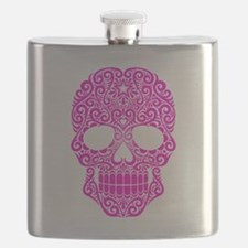 Pink Swirling Sugar Skull Flask