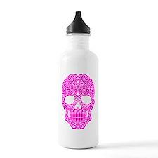 Pink Swirling Sugar Skull Water Bottle