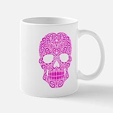 Pink Swirling Sugar Skull Mugs