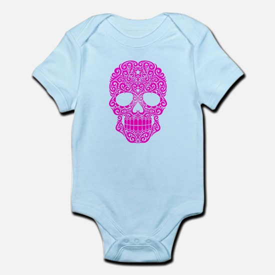 Pink Swirling Sugar Skull Body Suit