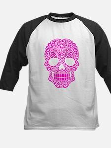 Pink Swirling Sugar Skull Baseball Jersey