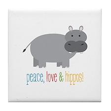 Peace, Love & Hippos! Tile Coaster