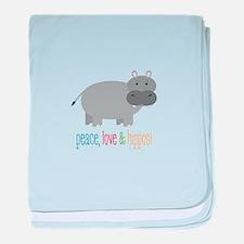 Peace, Love & Hippos! baby blanket