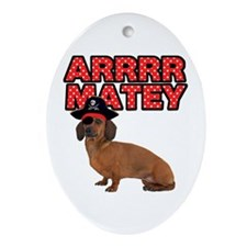 Pirate Dachshund Ornament (Oval)