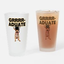 Graduation Chihuahua Drinking Glass