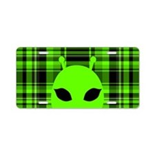 Peeking Alien UFO Aluminum License Plate