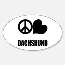 Peace Love Dachshund Sticker (Oval)