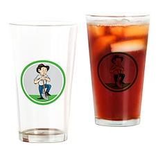 Farmer Shovel Standing Cartoon Drinking Glass