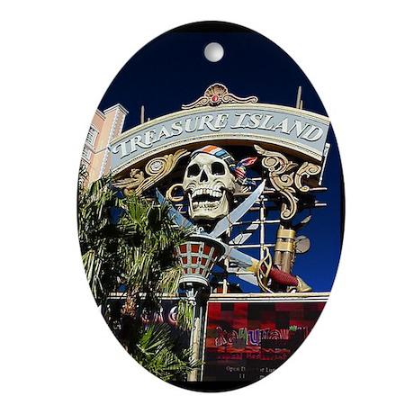 Treasure Island Sign Oval Ornament