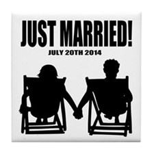 Just Married | Personalized wedding Tile Coaster