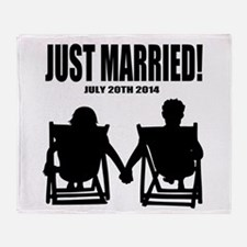 Just Married | Personalized wedding Throw Blanket