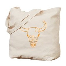 Orange Longhorn Skull Tote Bag