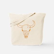 Orange Longhorn Skull Tote Bag