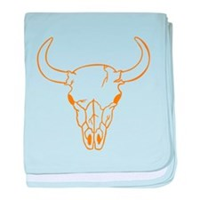 Orange Longhorn Skull baby blanket