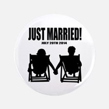"Just Married | Personalized wedding 3.5"" Button (1"