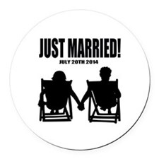 Just Married | Personalized wedding Round Car Magn