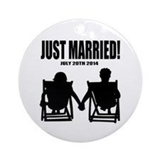 Just Married   Personalized wedding Ornament (Roun