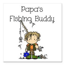 "Papa's Fishing Buddy Square Car Magnet 3"" x 3"""