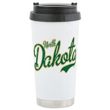 North Dakota Script Font Green Travel Mug