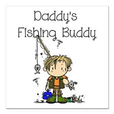 """Daddy's Fishing Buddy Square Car Magnet 3"""" x 3"""""""