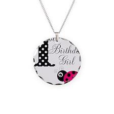 1st Birthday Girl Polka Dot Pink Ladybug Necklace
