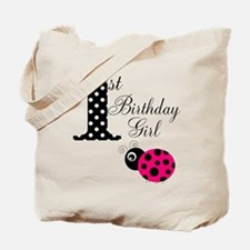 1st Birthday Girl Polka Dot Pink Ladybug Tote Bag