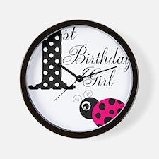 1st Birthday Girl Polka Dot Pink Ladybug Wall Cloc