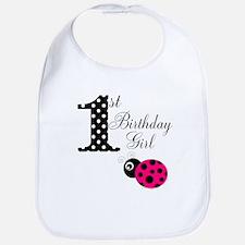 1st Birthday Girl Polka Dot Pink Ladybug Bib