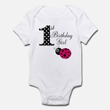 1st Birthday Girl Polka Dot Pink Ladybug Body Suit
