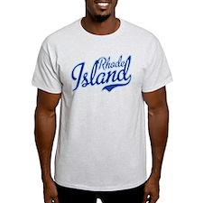 Rhode Island State Script Font T-Shirt