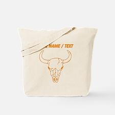 Custom Orange Longhorn Skull Tote Bag