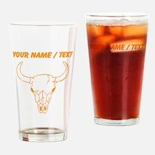 Custom Orange Longhorn Skull Drinking Glass