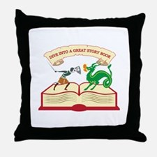 Dive Into A Great Story Book Throw Pillow