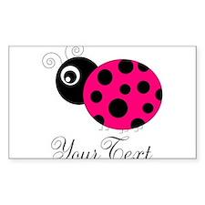Pesronalizable Pink and Black Ladybug Decal