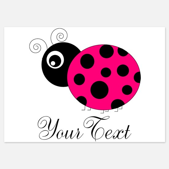 Pesronalizable Pink and Black Ladybug Invitations