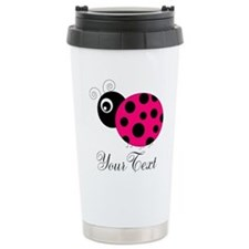 Pesronalizable Pink and Black Ladybug Travel Mug