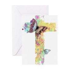 Pastel floral cross and butterflies Greeting Cards