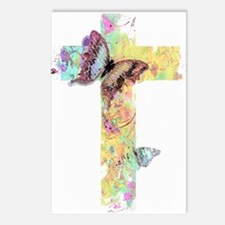 Pastel floral cross and butterflies Postcards (Pac