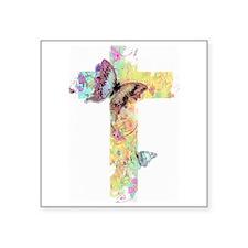 Pastel floral cross and butterflies Sticker