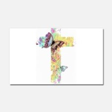 Pastel floral cross and butterflies Car Magnet 20