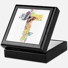 Pastel floral cross and butterflies Keepsake Box