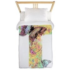Pastel floral cross and butterflies Twin Duvet