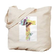 Pastel floral cross and butterflies Tote Bag