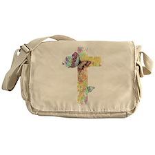 Pastel floral cross and butterflies Messenger Bag