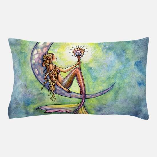 Mermaid Moon Watercolor Fantasy Art Pillow Case