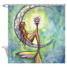 Mermaid Moon Watercolor Fantasy Art Shower Curtain