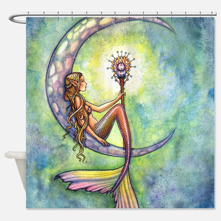Mermaids shower curtains mermaids fabric shower curtain for Fantasy shower curtains
