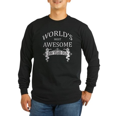 World's Most Awesome 100 Long Sleeve Dark T-Shirt