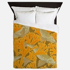 Vintage Art Deco Fish and Yellow Coral Queen Duvet