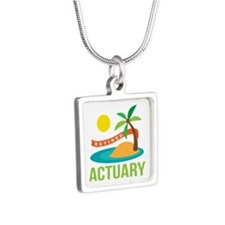 Retired Actuary Silver Square Necklace